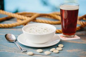 Beer and clam chowder
